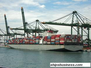 Container ship loaded condition
